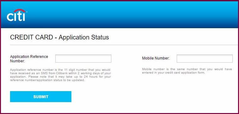 Citibank - Check Credit Card Application Status
