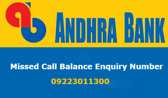 andhra bank missed call balance number