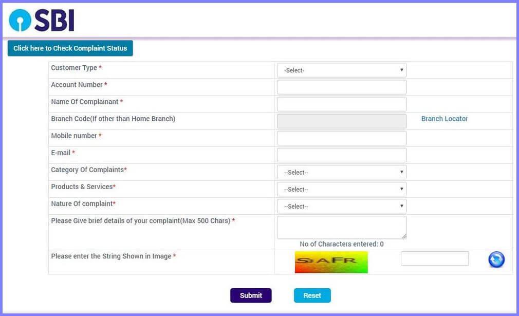 register complaint online sbi